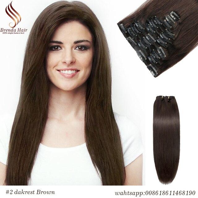 Clip In Human Hair Extensions Dark Brown Peruvian Human Hair Clip In