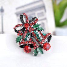 1 PCS Mode Kristal Berlian Imitasi Perhiasan Hadiah Natal Bell Bros Busur simpul Bros Pins (Warna: Merah)(China)