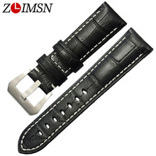 ZLIMSN New Fashion Watch Accessories Strap 22mm 24mm Pin Buckle genuine Leather Watch Band Strap For Panerai Watch все цены
