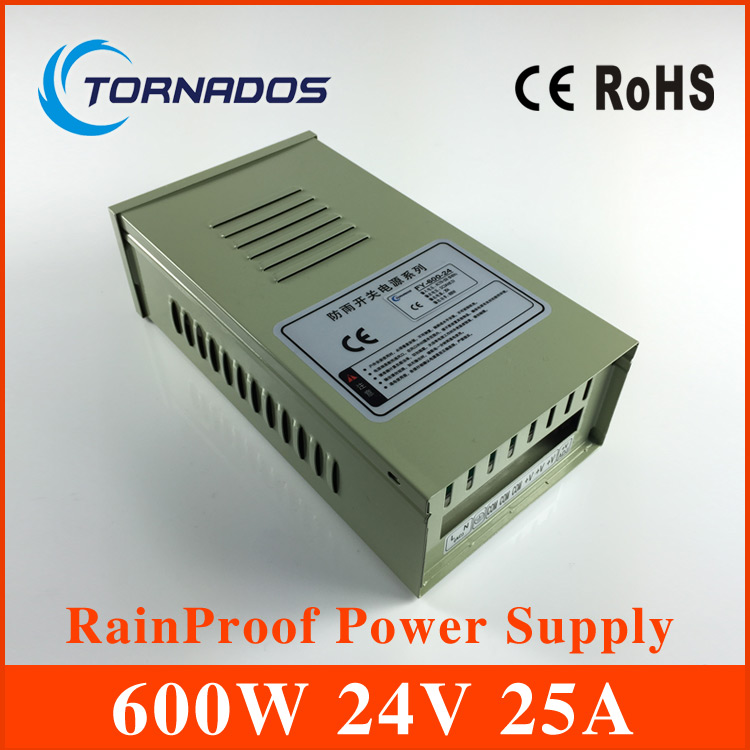 цена на Led Light Voltage Transformer AC to DC Power supply 24V 25A 600W Rainproof Power Supplies and led driver for cnc cctv FY-600-24