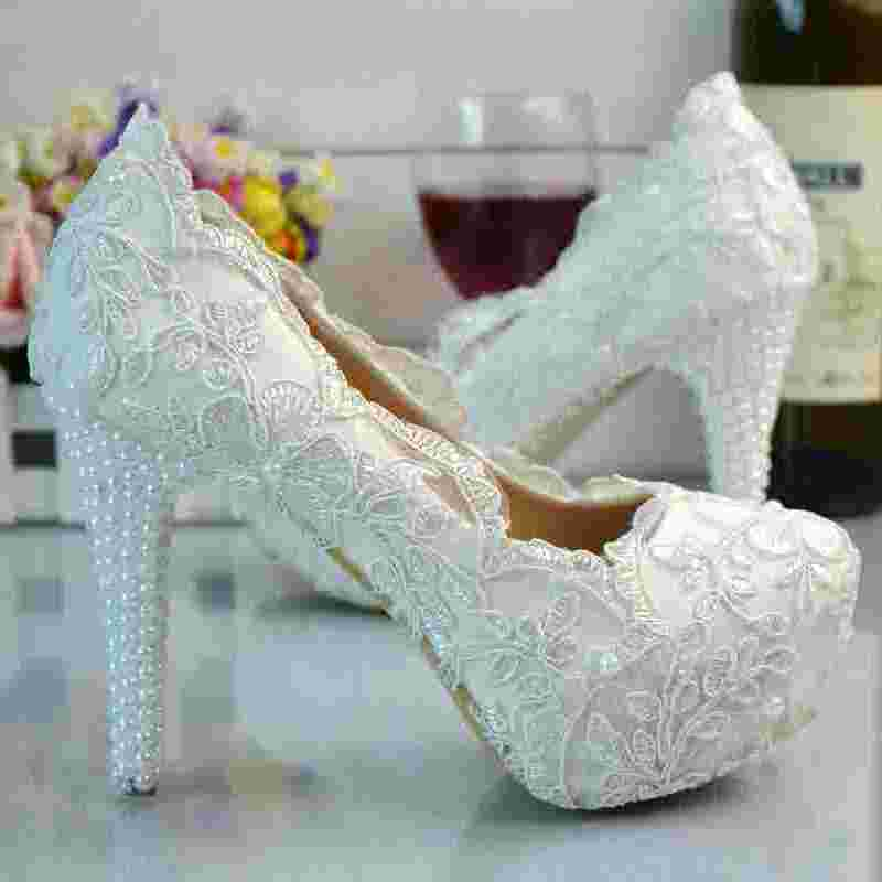 Beautiful Lace font b Women b font Wedding Shoes Custom Heels Handmade Lace font b Women