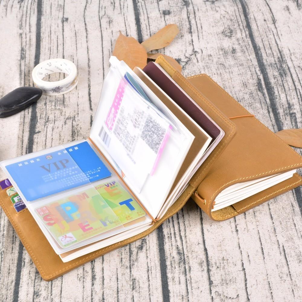 Image 4 - 20 Pieces / Lot Passport 130x105mm Genuine Leather Notebook Handmade Travel Journal With Card Holder Diary Sketchbook Planner-in Notebooks from Office & School Supplies
