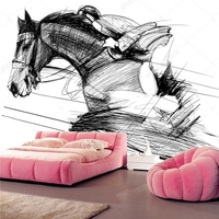 Custom children's wallpaper,a racing horse and jockey,cartoon murals for the living room bedroom dining room wall wallpaper