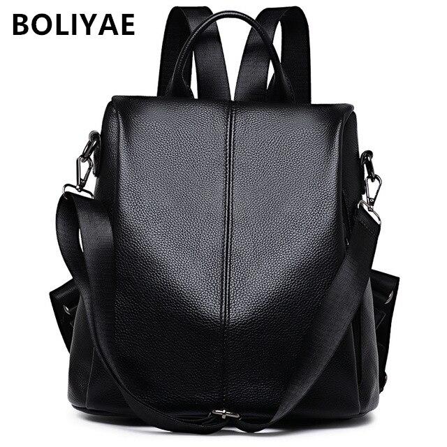 BOLIYAE mode femmes en cuir véritable Anti-vol sac à dos fille loisirs école sac à dos adolescentes décontracté voyage sacs