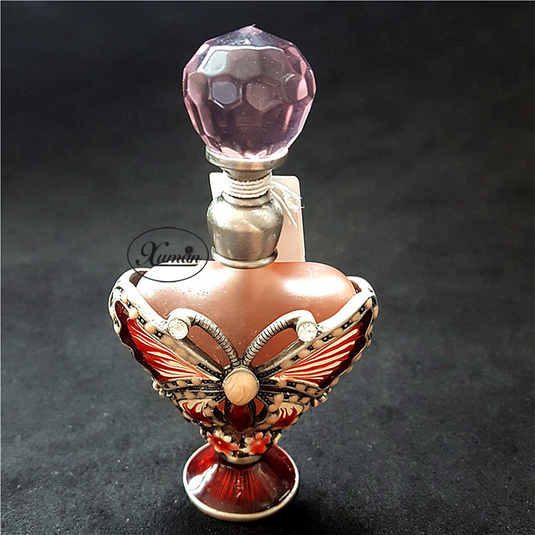 Retro Vintage Graven Metal Butterfly Glass Empty Container Refillable Gift Crystal Cluster Perfume Bottle Home Decoration#56597 100ml empty vintage crystal perfume bottle spray atomizer refillable glass bottle