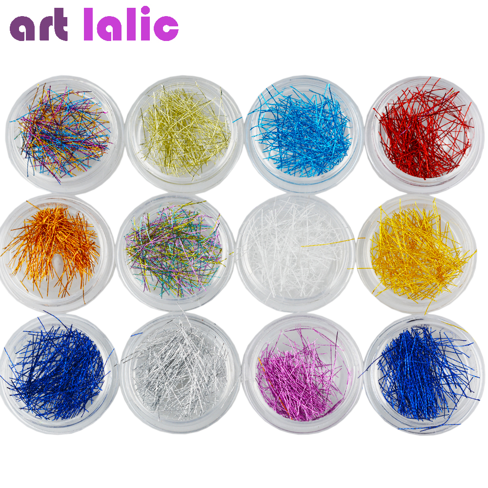Artlalic 12 Boxes New Fashion Silk Line DIY Nail Art Decorations Colors Nail Tips Stickers Decals Set 12 colors 3mm waterdrop rhinestone nail art salon stickers tips diy decorations with wheel chic design 5gpn