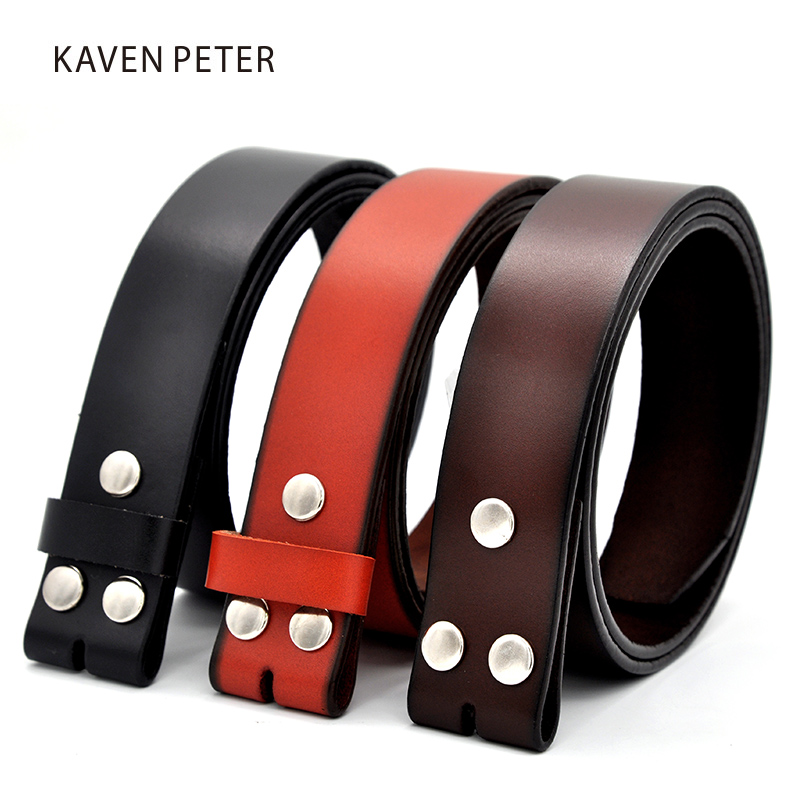 Genuine Leather   Belts   Without Buckle for Men Brand Strap Vintage Jeans Cowskin Strap With One Layer Leather 29