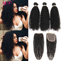 Cheap Human Hair With Closure Piece 8a Malaysian Curly Hair With Closure 3 Bundles With Lace Closure Ali Moda Hair With Closure