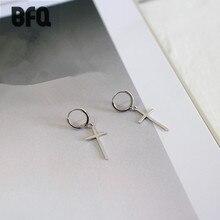 BFQ 925 sterling silver earrings for women fashion cross drop earrings dangle long earrings pendientes plata 925 brincos 2017
