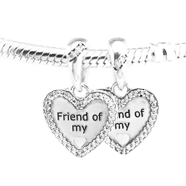 Fits Pandora Bracelets 925 Sterling Silver Hearts Of Friendship Charm Pendant Beads Diy Charms Making Fine