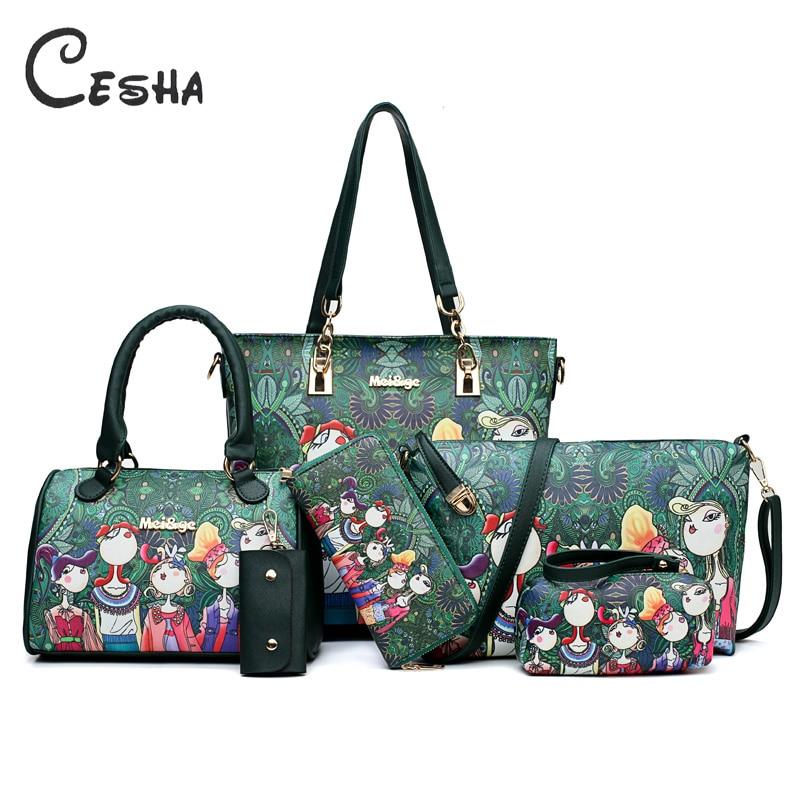 6Pcs Lot Fashion Cartoon Girls Pattern Women Composite bag High Quality PU Leahter Shoulder bag Portable