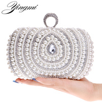 YINGMI Acrylic Diamonds Small Clutch Purse Crystal Beaded Handbags Chain Shoulder Evening Finger Ring Bags For Wedding Party