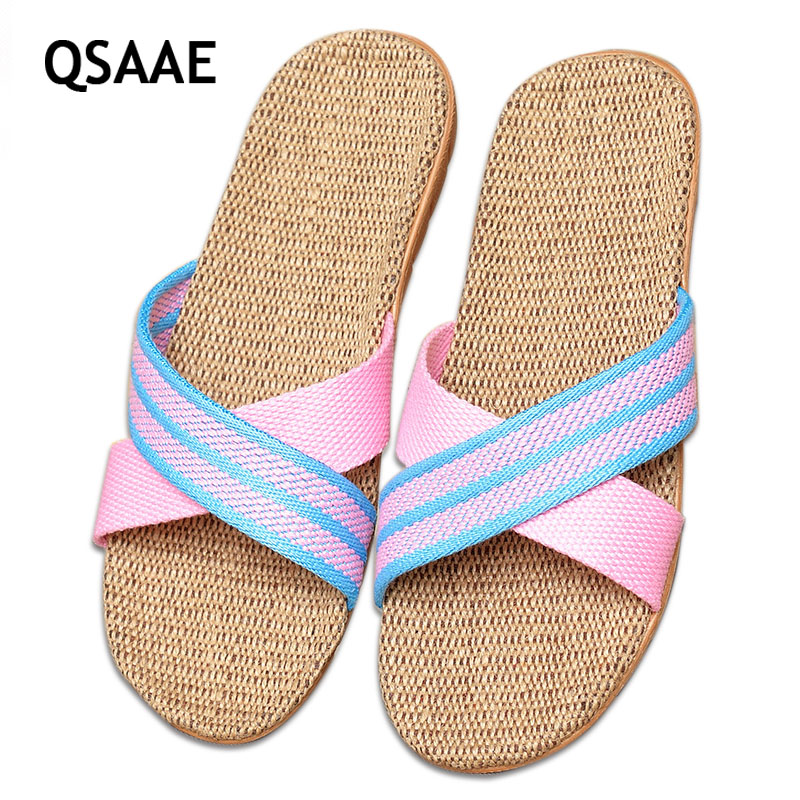 2017 Fashion Flax Home Slippers Indoor Floor Shoes Belt Silent Sweat Slippers For Summer Women Sandals unisex Flip Flops AF433 vanled 2017 new fashion spring summer autumn 5 colors home plush slippers women indoor floor flat shoes free shipping