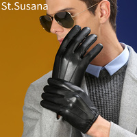 2017 Autumn Male PU Leather Short Wrist Black Touchs Screen Gloves Full Finger Luvas Warm Winter