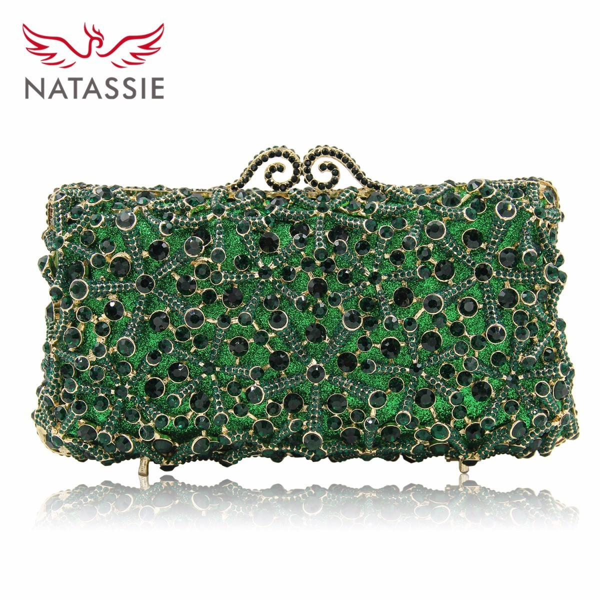NATASSIE Fashion Flower Clutch Bags Full Crystal Clutches Women Silver Party Purse Ladies Wedding Bag With Long Chain free shipping a15 36 sky blue color fashion top crystal stones ring clutches bags for ladies nice party bag