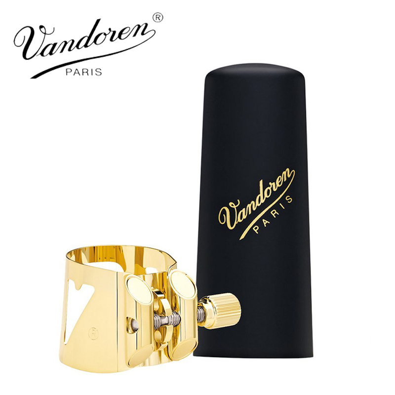 France Vandoren LC06P Optimum Ligature and Plastic Cap for Soprano Saxophone Gilded with 3 Interchangeable Pressure PlatesFrance Vandoren LC06P Optimum Ligature and Plastic Cap for Soprano Saxophone Gilded with 3 Interchangeable Pressure Plates
