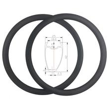 SUPER LIGHT 700C 380g 42mm Asymmetric Clincher Tubeless Ready Road Carbon Rims Holeless Disc Bike Wheel Tapeless Valve Hole Only