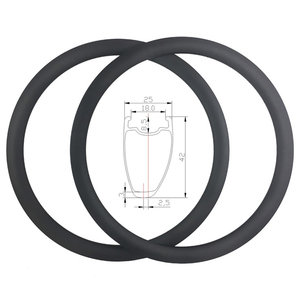 Image 1 - SUPER LIGHT 700C 380g 42mm Asymmetric Clincher Tubeless Ready Road Carbon Rims Holeless Disc Bike Wheel Tapeless Valve Hole Only