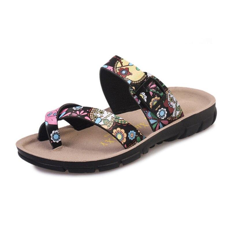 2018 Blumendruck Klippzehe Strand Slides Frau Bunte Blume Anti-skid Flip-flops Kork Schuhe 35-44 Hausschuhe Chaussure Femme Feine Verarbeitung