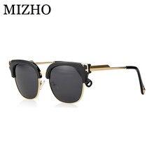979068fd26364 MIZHO Vidrio de Ouro Original de Luxo Senhoras Escudo Óculos De Sol  Mulheres Polarizada HD UV400