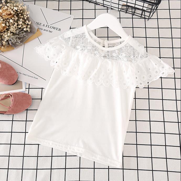 Лето 2017 г. Новые девушки футболка дети кружева воланами с коротким рукавом блуза для девочек Милая футболка для малышей Топы Детская одежда ... ...