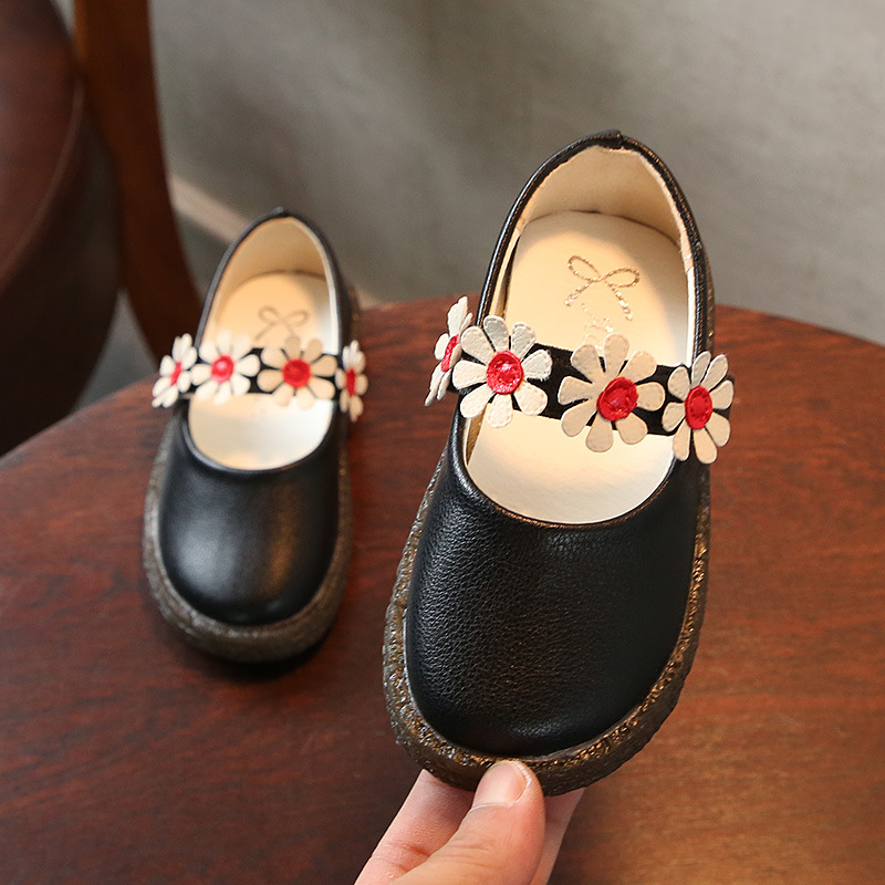 AFDSWG spring and autumn fashion black flowers girls princess shoes pink shoes princess black child moccasin kids leather shoes
