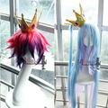 No Game No Life Sora/Shiro anime cosplay wig synthetic hair cos wigs cosplay crown