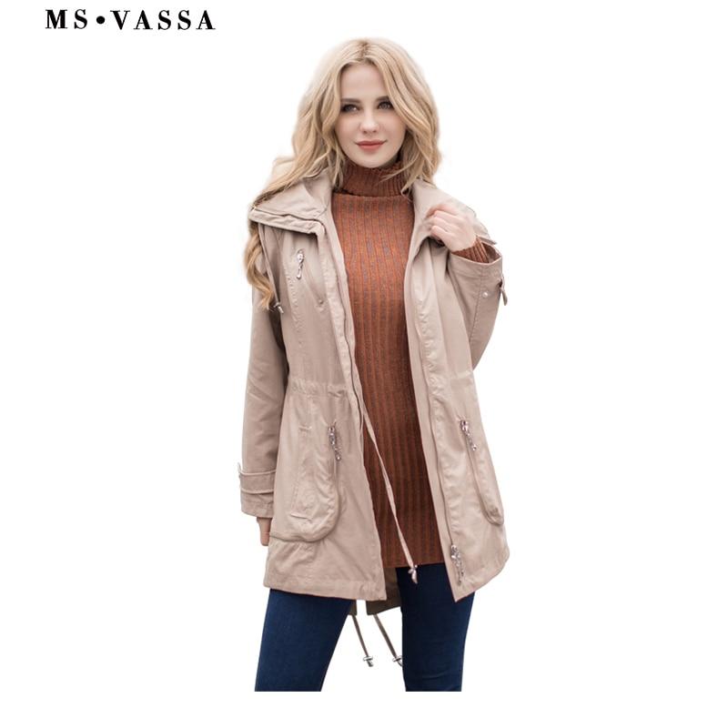Kadın Giyim'ten Siper'de MS VASSA Bahar trençkotlar 2019 Kadınlar Yeni moda Bayan mont ayarlanabilir bel artı boyutu 5XL 7XL kadın giyim'da  Grup 2