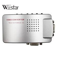 Adaptador VGA a RCA, convertidor compuesto AV S Video a VGA, PC a TV caja de conmutación de vídeo para HDTV, monitores, computadora portátil, escritorio, PC