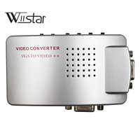 PC portátil VGA a TV AV RCA compuesto convertidor adaptador de video caja de apoyo-RGB de video NTSC/PAL/señal de ordenador