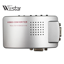 Композитный адаптер VGA к ТВ AV RCA, композитный адаптер для видеопереключателей, ПК к ТВ, AV монитор, для компьютера, ноутбука, ПК