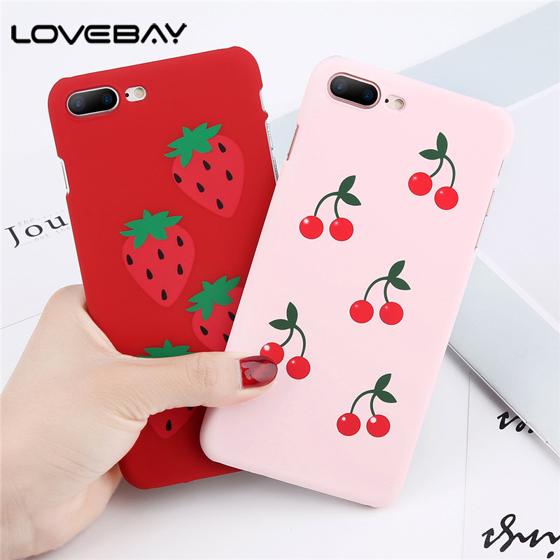 Lovebay Cartoon Fruit Cherry Phone Case For iPhone X 8 7 6 6s Plus Cut Fruit Cherry Hard PC Back Cover Cases For iPhone 8 Capa