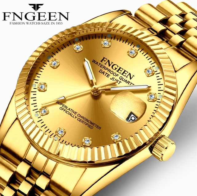 couple watch FNGEEN brand mens womens watches quartz steel waterproof calendar w
