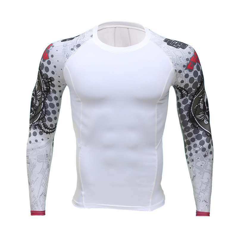 2017 muscle male 3 d skull print fitness compression shirt long sleeve T-shirt join MMA exercise fitness GYMsport clothing