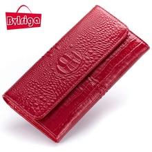 BVLRIGA Echtes leder dame geldbörse frauen lange brieftasche berühmten marken qualität krokodil kupplung frauen geldbörsen