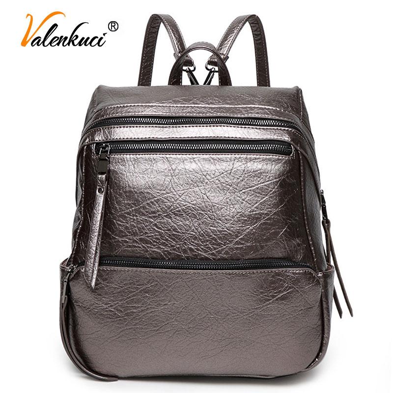 ФОТО Valenkuci Brand New 2017 Leather Backpacks Women Women Backpacks Travel Bags High-Quality School Bags Mochila Masculina BD-132