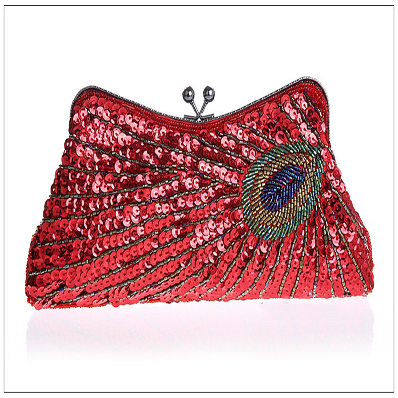 Handbag Party Bridal-Purse Clutches-Chain Beaded Evening-Bags Sequins Mini Women's Ladies