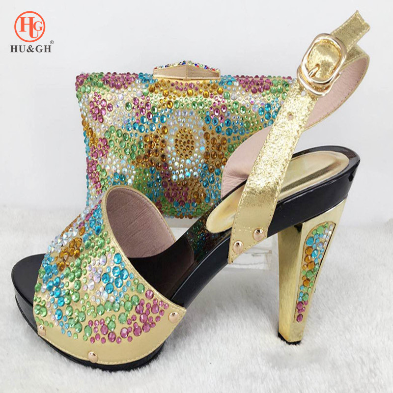 Italian Shoe With Matching Bag For Party Colorful Stone Wedding Shoes And Bag Set High Quality Women Pumps Gold color PU leather th16 38 gold free shipping high quality lady italian matching shoes and bag set for wedding and party in wholesale price