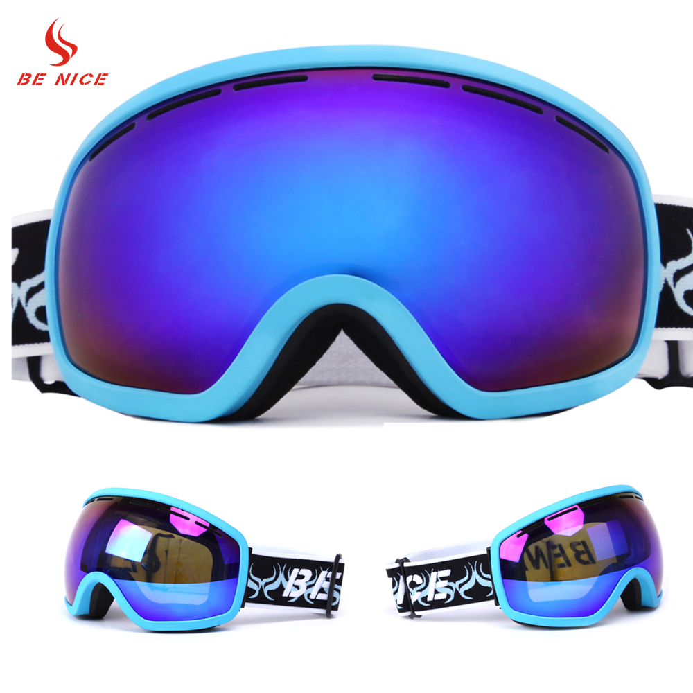 BENICE Brand Ski Goggles Outdoor Sports Coloured Lens UV400 Anti-fog Skiing Eyewear Snow Glasses For Adult SN-2700
