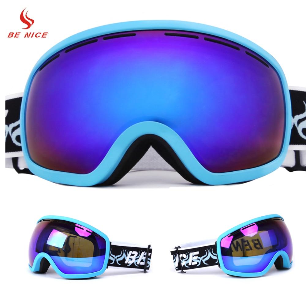 Benice брендовые лыжные очки Спорт на открытом воздухе цветные линзы UV400 Анти-туман Очки для лыжного спорта зимние Очки для взрослых sn-2700