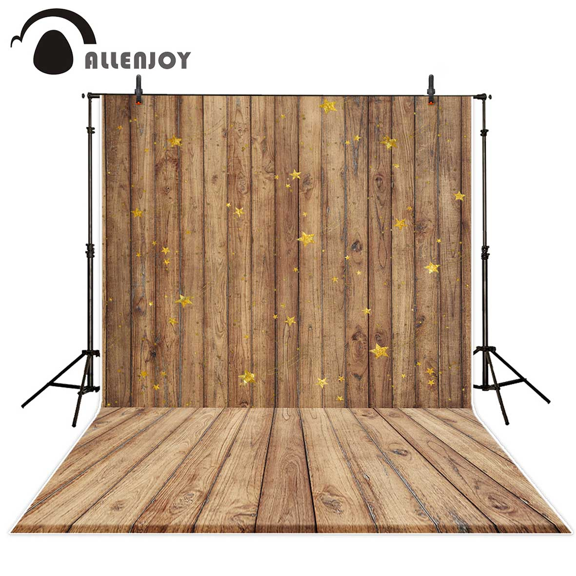 Allenjoy photography backdrops glitter Shiny stars brown wooden board baby backgrounds for photo studio for a photo shoot