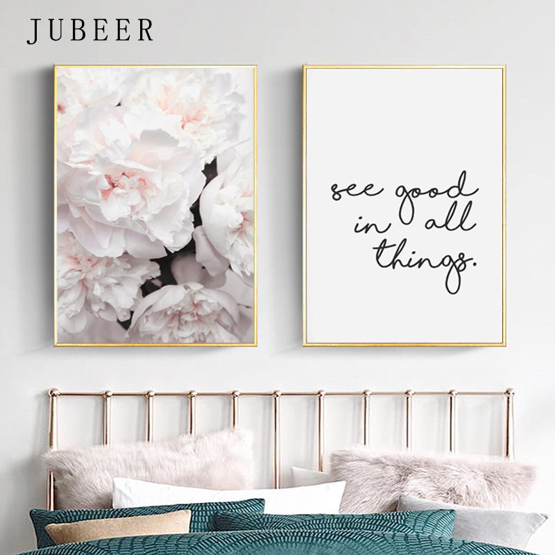 Scandinavian Style Peony Flower Canvas Print Large Wall Art Posters and Prints Quote Poster Flower Wall Pictures for Living Room