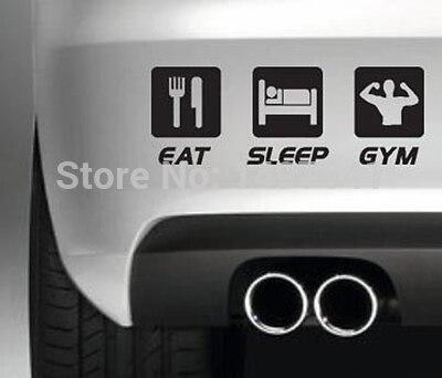 Eat Sleep Gym Car Show Sticker Drift Truck Bumper Funny JDM SUV Door - Car show stickers