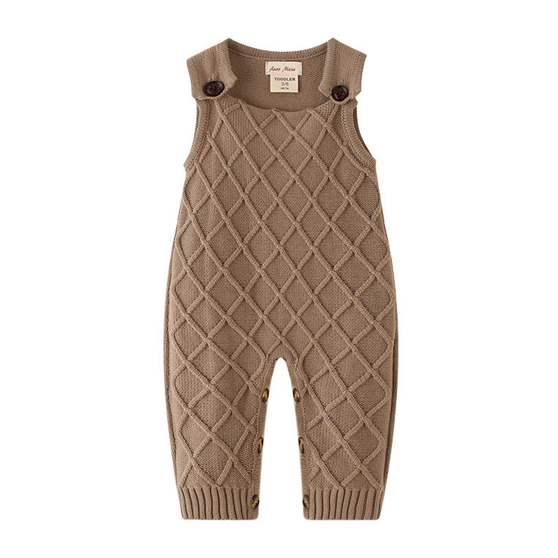 New fashion Autumn Infantil girls rompers plaid kids clothes jumpersuit knitted sleeveless casual style boy vest rompers