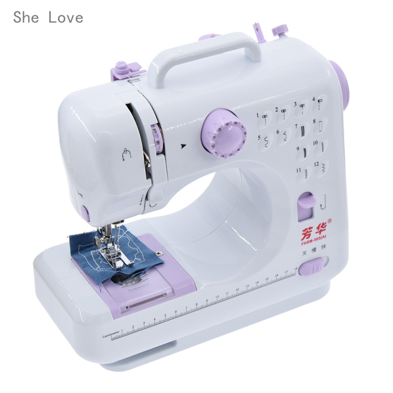 Fanghua Mini <font><b>Sewing</b></font> Machine 12 Stitches 505A Knitting Machine Multifunction Electric Replaceable Presser Foot Crafting Mending