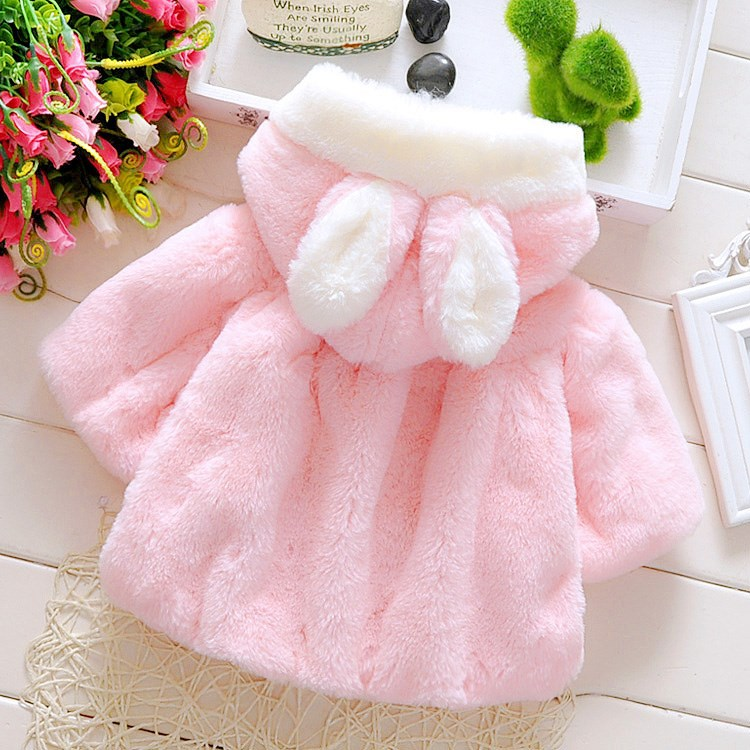 Baby Girls Coat Winter Spring Baby Girls Princess Coat Jacket Rabbit Ear Hoodie Casual Outerwear for girl Infants clothing