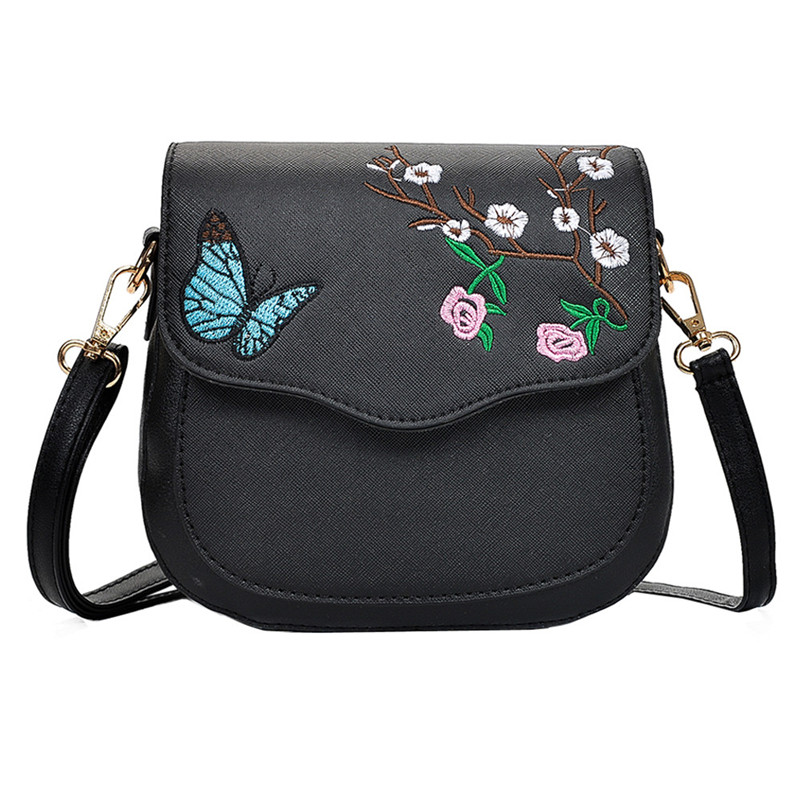 2018 Fashion Women Hit Color Butterfly Flower embroidery Leather Crossbody Bags Messenger Shoulder Bag For Women Leather Handbag