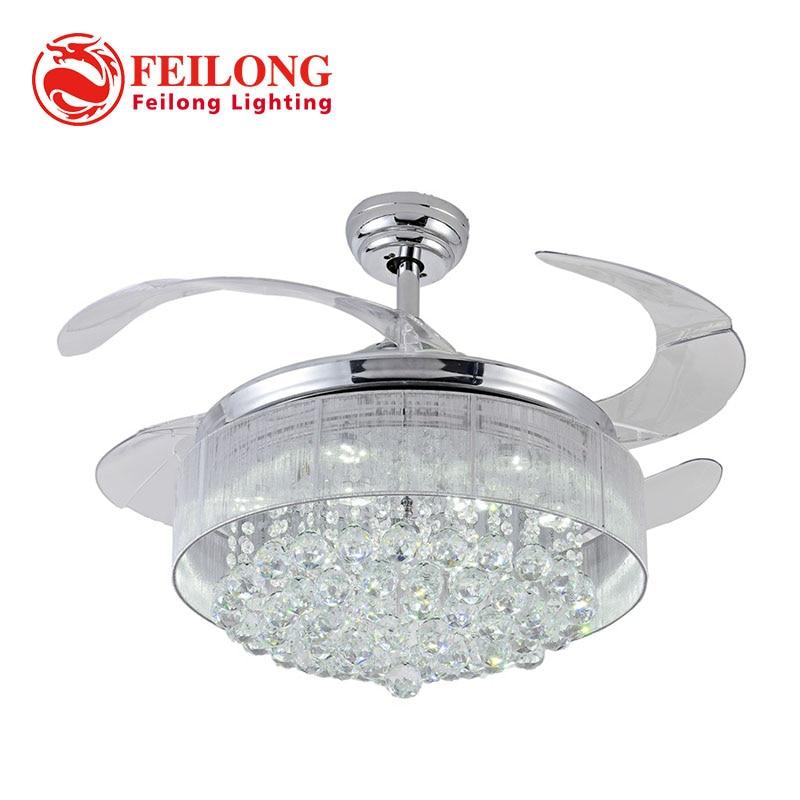 100 crystal ceiling fan decorative silver fan body - Fan with retractable blades ...