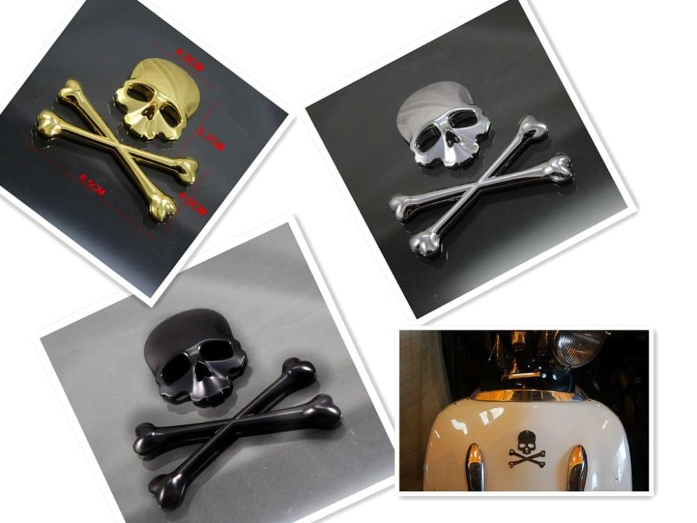 3D Скрещенные Кости Череп Демон металлический логотип эмблема значок наклейка Танк наклейка для Harley Honda Kawasaki Suzuki Yamaha KTM DUCATI на заказ