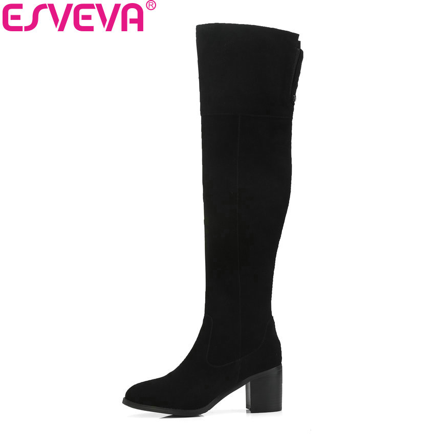 ESVEVA 2019 Women Over The Knee Boots Round Toe Elegant Autumn Boots Short Plush Square High Heels Shoes Ladies Boots Size 34-39 esveva 2018 women boots short plush pu lining elastic band pointed toe square high heels ankle boots ladies shoes size 34 39